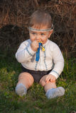 Bebê, menos do que uns anos de idade na grama verde Fotografia de Stock Royalty Free