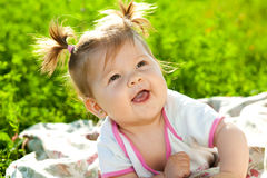 Bebê na grama Imagem de Stock