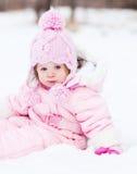Bebê na neve Foto de Stock Royalty Free