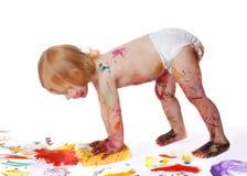 Bebê na pintura Fotos de Stock Royalty Free