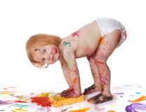 Bebê na pintura Fotografia de Stock Royalty Free