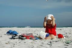 Bebê na praia Fotografia de Stock Royalty Free