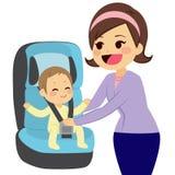 Bebê no banco de carro ilustração do vetor