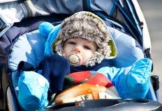Bebê no carrinho de criança Foto de Stock