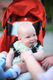 Bebê no carrinho de criança de assento fotografia de stock