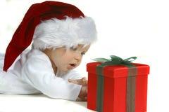Bebê no chapéu de Santa Fotografia de Stock Royalty Free