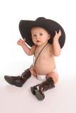 Bebê no chapéu e no bolo Imagens de Stock Royalty Free