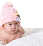 Bebê no chapéu feito malha Fotografia de Stock