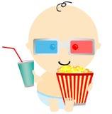 Bebê no cinema 3D Fotografia de Stock Royalty Free