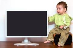 Bebê no computador Imagens de Stock