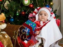 Bebê no Natal Fotos de Stock