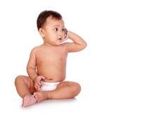Bebê no telefone foto de stock
