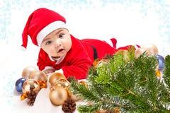 Bebê no traje de Santa imagens de stock royalty free