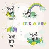 Bebê Panda Set - para cartões de chegada da festa do bebê ou do bebê ilustração royalty free