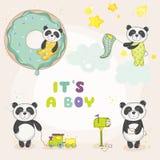 Bebê Panda Set - para cartões de chegada da festa do bebê ou do bebê ilustração do vetor