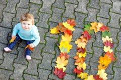 Bebê pequeno adorável no parque do outono no dia morno ensolarado de outubro com carvalho e folha de bordo Folha de queda Família foto de stock royalty free