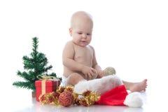 Bebê pequeno com decoração do Natal Fotografia de Stock Royalty Free