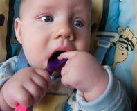 Bebê pequeno com fome Fotos de Stock Royalty Free