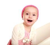 Bebê pequeno de riso alegre no fundo branco fotografia de stock royalty free