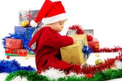 Bebê pequeno do ajudante de Santa Fotografia de Stock Royalty Free