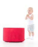 Bebê pequeno doce com caixa Fotos de Stock Royalty Free