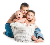 Bebê pequeno e dois irmãos Imagem de Stock Royalty Free