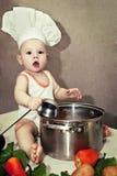 Bebê pequeno no chapéu e na concha de um cozinheiro chefe à disposição Imagens de Stock Royalty Free