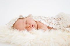 Bebê pequeno que dorme docemente Fotografia de Stock Royalty Free