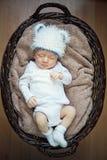 Bebê pequeno que dorme na cesta. Fotos de Stock