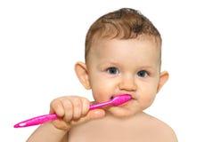 Bebê pequeno que escova seus dentes imagem de stock royalty free