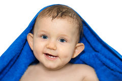 Bebê pequeno que escova seus dentes imagens de stock royalty free