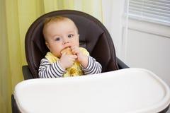 Bebê pequeno que senta-se na cadeira para alimentar e comer o biscoito especial para bebês Fotografia de Stock Royalty Free