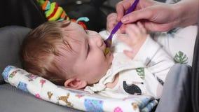 Bebê que alimenta, puericultura do conceito, primeiro alimento A mãe dá à criança a primeira refeição com uma colher, que se enco vídeos de arquivo