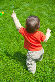 Bebê que anda na grama fotografia de stock royalty free
