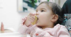 Bebê que attemtping para comer só uma cookie filme