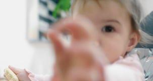 Bebê que attemtping para comer só uma cookie vídeos de arquivo