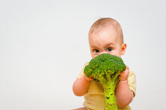 Bebê que come brócolis Foto de Stock Royalty Free