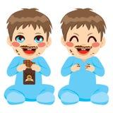 Bebê que come o chocolate ilustração do vetor
