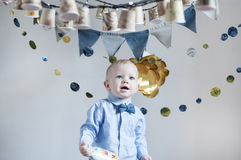bebê que comemora seu aniversário Fotografia de Stock Royalty Free