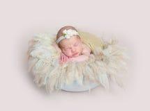 Bebê que dorme no descanso macio enorme da fúria Fotografia de Stock