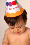 Bebê que grita no primeiro aniversário Fotografia de Stock Royalty Free