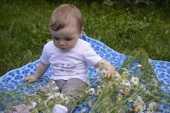 Bebê que joga com as flores brancas durante horas de verão foto de stock