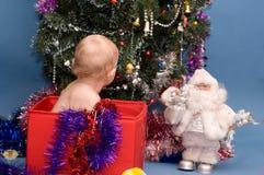 Bebê que olha a árvore de Natal fotografia de stock