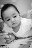 Bebê que olha em preto e branco. Imagens de Stock