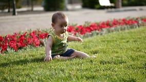 Bebê que rasteja lentamente no prado de O moinho pequeno conhece o mundo Movimento lento video estoque