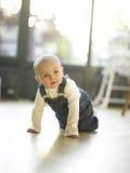 Bebê que rasteja no assoalho Imagens de Stock