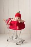 Bebê que senta-se em um carrinho de compras que veste um chapéu de Apple Imagem de Stock Royalty Free