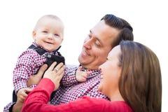 Bebê que tem o divertimento com mãe e pai Isolated Imagens de Stock Royalty Free