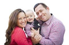 Bebê que tem o divertimento com mãe e pai Outdoors Isolated Fotografia de Stock
