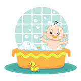 Bebê que toma um banho de espuma ilustração royalty free